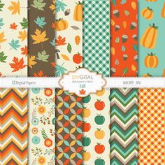 Fall Digital Paper Set- 12 autumn digital papers with acorns, maple leafs, pumpkins, apples, autumn flowers. Great for Thanksgiving party