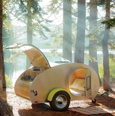So... this guy sells plans to build this awesome tear drop camper for under $500.  Unfortunately, the kids and hubby won't fit.  I plan on building one in my lifetime, slapping a road bike to the top, and riding HWY 101!