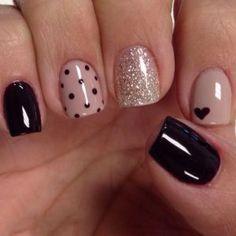 easy nail art designs for short nails Black Nail Designs, Simple Nail Art Designs, Gel Nail Designs, Nails Design, Short Nail Designs, Trendy Nail Art, Cute Nail Art, Vernis Semi Permanent, Super Nails