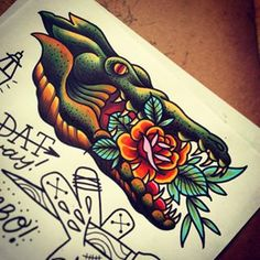 Traditional Rose In Alligator Mouth Tattoo Design Mouth Tattoo, Arm Tattoo, Tattoo Flash, Tattoo Art, Traditional Tattoo Man, Traditional Roses, Future Tattoos, Tattoos For Guys, Cool Tattoos