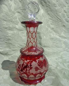 Antique Bohemian Ruby Flashed Glass Small Decanter Scent Bottle Cut and Etched