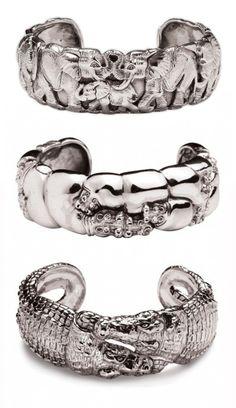 "Cuffs | Patrick Mavros. ""Elephant, Hippo and Crocodile"". Sterling silver"