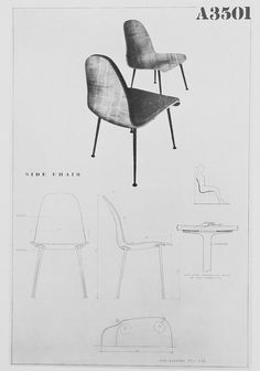 """Organic Design in Home Furnishings Competition"" drawing submitted by Eames and Saarinen. Cool Furniture, Furniture Design, Home Design Software, Balcony Table And Chairs, Saarinen Chair, Eero Saarinen, Organic Modern, Design Competitions, Technical Drawing"