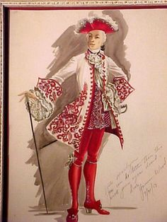 Costume design sketch by Marilyn Sotto for Bob Hope in CASANOVA'S BIG NIGHT (1954)