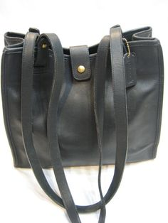 Authentic Vintage Coach Black Leather Large Tote by CLASSYBAG