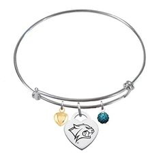 New Hampshire Wildcats Sterling Silver Adjustable Bangle Bracelet with Heart Charm *** Visit the image link more details.