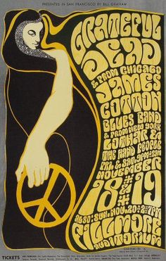 Grateful Dead at The Fillmore 1966. Art by Wes Wilson