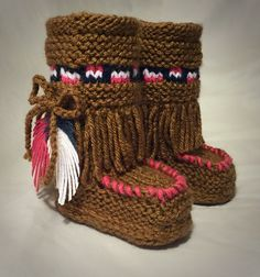 Hand Knit Baby Moccasin Booties- Brown and Pink