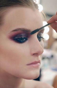 Deep plum glossy eyeshadow