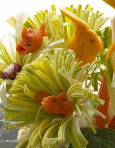 Veggie Floral Arrangement using celery for reefs cute