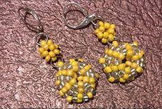 Cubanas de rocalla amarilla y cristal