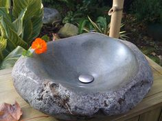 Items similar to Cascade Mtn Basalt Stone Sink on Etsy Stone Bowl, Stone Sink, Bathroom Sink Design, Modern Bathroom Design, Stone Carving Tools, Concrete Bath, Wood Sink, Basalt Stone, Fantasy House