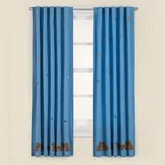 Kids' Curtains: Kids Blue Squirrel Themed Curtain Panels in Curtains