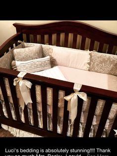Crib bedding in Beautiful vintage lace over latte linen