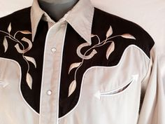 Roper Western Shirt w Pearl Snaps & Embroidered Cowboy Horseshoes Mens Large #Roper #Western
