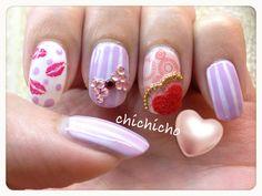 Video: Valentine's Fuzzy Heart & Kisses Nail Art | chichicho~ nail art addicts