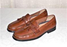 Bass Adams II Brown Leather Tassel Loafer Slip On Shoe Men's 13 M #Bass #TasselLoaferSlipOn