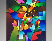 Cubist Still Life Original Abstract Painting, Made to Order Commissioned original painting, Leaf and Vase