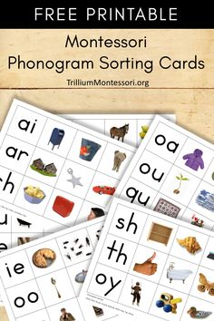 FREE Montessori Phonogram Sorting Cards This matching activity helps build early reading skills by matching phonograms with images. Three images per phonogram in this printable set. Maria Montessori, Montessori Practical Life, Montessori Homeschool, Montessori Elementary, Montessori Classroom, Montessori Toddler, Montessori Bedroom, Homeschooling, Montessori Theory