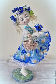 """Купить Войлочная кукла """"Васильковое лето"""" - синий, авторская кукла, лето, ручная авторская работа"""