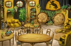 Hufflepuff Common Room- similar to the Shire:)