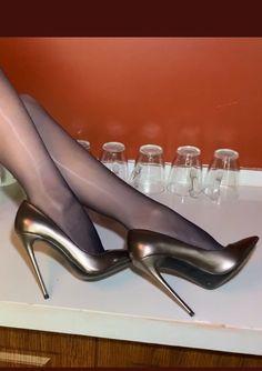 Nylons Heels, Stockings Heels, Sexy Heels, High Heels, Stilettos, Stiletto Heels, Legs, Shoes, Women