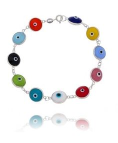 pulseira prata fina de olho grego semi joias