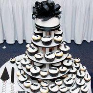 Black & white cupcake tier