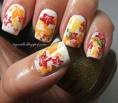 Autumn All Over My Nails from Erika Costello. These nails were stamped so the blog primarily lists colors and brands of products used (regular, not stamping polish). The stamp design is available from Amazon: Bundle Monster Manicure Nail Art Polish Stamping Image Plates - 2010 Collections, plate BM004.