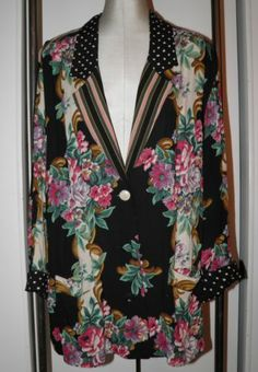 VTG '80's CAROLE LITTLE 14 Jacket Blazer Over-Sized Long Floral Dots Stripes