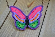 Acquiring the Taste: Jewelry Week: Perler Bead Butterfly Necklace
