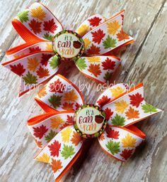 It's Fall Y'all Piggy Tail Hair Bow Set by HairBowsByAshleigh