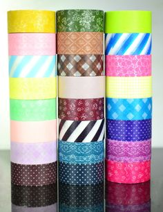 Eight rolls of absolutely adorable tape!  Each pack contains a mixture of flowers and stripes and multiple other patterns.Each pack contains 8 rolls all are 15mmx6m