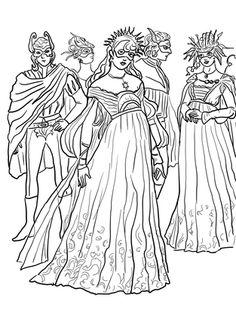 Romeo y Julieta, Baile de Máscaras dibujo para colorear