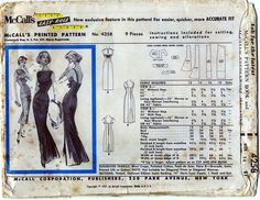 RARE Uncut McCall's Sewing Pattern 4258 Fabulous Pauline Trigere Evening Dress | eBay