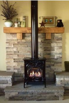 Wonderful Cost-Free Wood Stove wall Ideas Whilst wooden is among the most eco-friendly heating up technique, the item certainly not looks like it's talk. Wood Stove Decor, Wood Stove Wall, Corner Wood Stove, Wood Stove Surround, Wood Stove Hearth, Wood Burner, Cabin Fireplace, Fireplace Design, Freestanding Fireplace