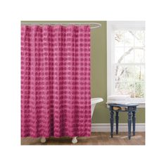 Lush Decor Emma Fabric Shower Curtain, Pink