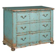"""Three-drawer alder wood chest with a scalloped design and brass hardware.      Product: Chest  Construction Material: Alder wood   Color: Turquoise Features: Three drawersBrass hardware  Dimensions: 33.5"""" H x 43"""" W x 21.5"""" D  Cleaning and Care: Wipe with damp cloth"""