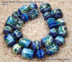 Paper Beads  Water Color Blue And Green    by PassionForPaperBeads