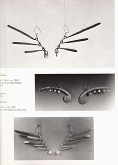 alexander calder jewelry. silver or brass earrings. unusual modernist design, wire and spheres. midcentury modern style