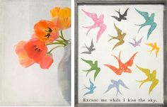 10 tips to decorate your bedroom for love : Tulips by Julie Stalus Birds by Sugarboo Design