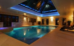 Indoor Swimming Pool Ideas - You want to build a Indoor swimming pool? Here are some Indoor Swimming Pool designs and ideas for you. Swimming Pool Lights, Swimming Pool House, Indoor Swimming Pools, Swimming Pool Designs, Lap Swimming, Indoor Outdoor Pools, Casa Top, Inside Pool, Moderne Pools