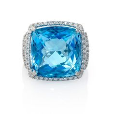 18K White Gold Diamond Details: 66 Round brilliant cut White Diamonds, F color, VS2 Clarity, excellent cut and brilliance, weighing 0.34tcw. Gemstone Details: 17.50tcw. 1 Blue topaz stone, of exquisite color  3,530 USD
