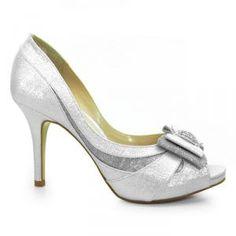 Sapato de Noiva Peep Toe Laura Porto - Prata - MM771
