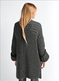 Breipatroon Lang vest - chunky ribbed knit charcoal cardigan/coat - breien  ...