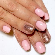 Pale pink with glitter #gelish #amnails