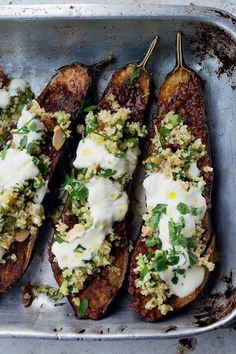 Chermoula Eggplant With Bulgur and Yogurt by Yotam Ottolenghi and Sami Tamimi via nytimes: Chermoula is a mixture of spices used in North African cooking, often to season fish. Here it's rubbed over eggplant, which is then roasted and topped Yogurt Recipes, Veggie Recipes, Cooking Recipes, Healthy Recipes, Bulgur Recipes, Cooking Rice, Delicious Recipes, Healthy Food, Healthy Eating
