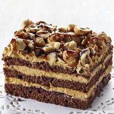 Easier than it looks. A beautiful chocolate cake recipe sprinkled with hazelnuts and filled with Caramel Coffee Mousse. Chocolate Cake With Mousse Filling Recipe from Grandmothers Kitchen.