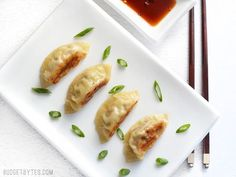 Filling, folding, frying, and steaming your own Pork Gyoza at home is not only fun, but it costs just pennies on the dollar compared to restaurants. Meat Recipes, Asian Recipes, Appetizer Recipes, Cooking Recipes, Appetizers, Online Recipes, Cooking 101, Sauteed Cabbage, Napa Cabbage
