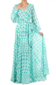 Aqua Sheer Loose Fit V-neck Dress With Waist Tie Detail
